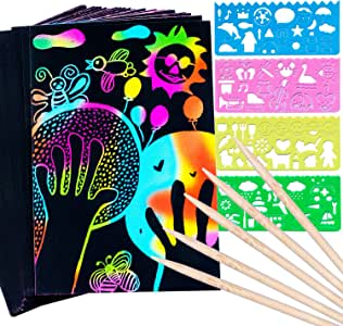 RUSHAIBAR Scratch Paper Art Set for Kids, 59 Pcs Magic Rainbow Scratch Paper Arts Crafts Kits Supplies Arts and Crafts for Kids Painting Draw Craft Paper Party Games Birthday Gift