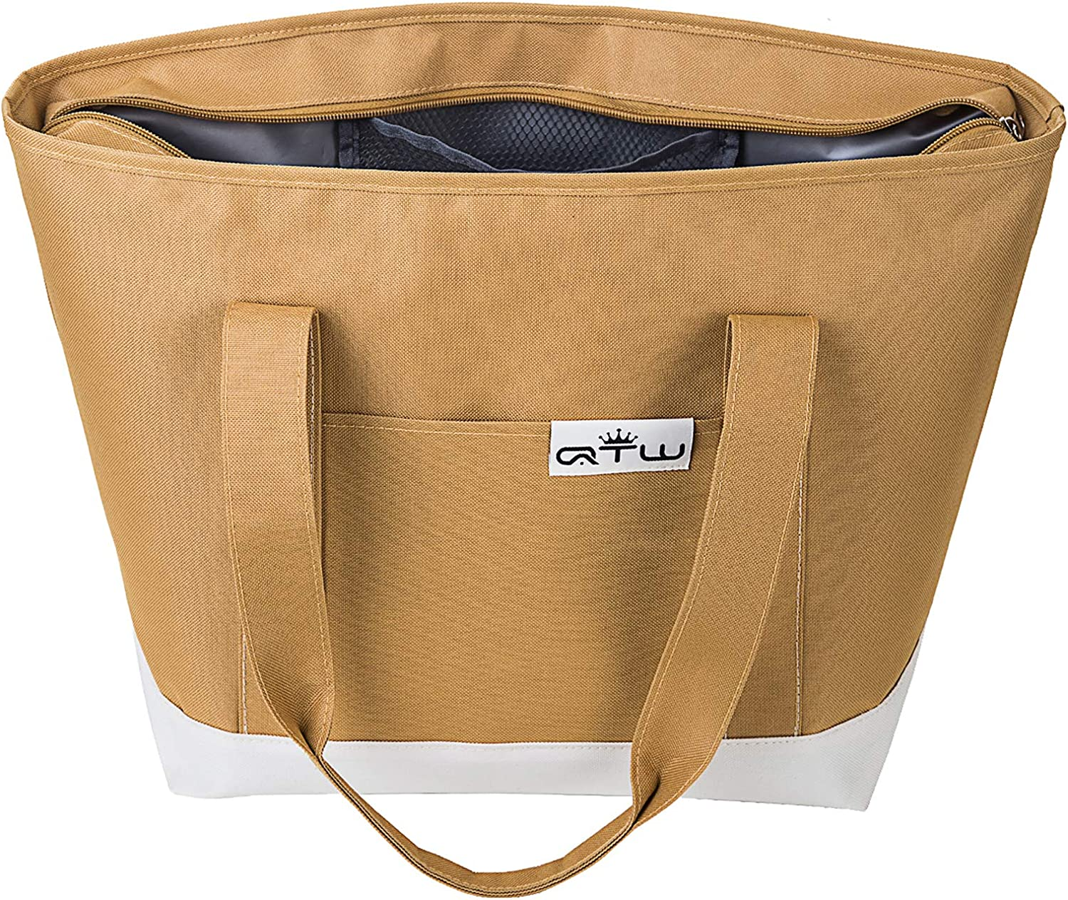 Jumbo Insulated Cooler Bag, Thermal Tote Bag for Grocery Shopping with Zipper, Premium Quality Soft Sided Food Transport Bag, Travel Cooler or Picnic Cooler (Honey Beige-28L)