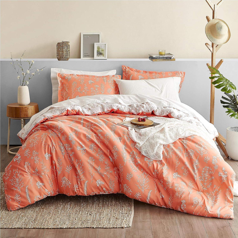 Bedsure Floral Comforter Set Queen Size Bed Coral Orange & White, Flower & Plant Printed Reversible Botanical Comforter All Season Duvet Set, Full Size 3 Piece Bedding Set with 2 Pillow Shams
