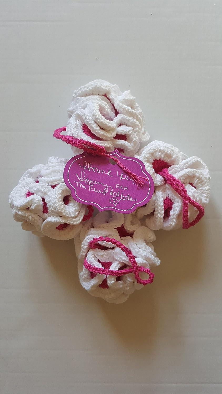 Amazoncom Eco Friendly Crochet Bath Pouf Pink And White Loofa Bath