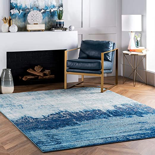 Amazon Com Nuloom Alayna Abstract Area Rug 4 X 6 Blue Furniture Decor