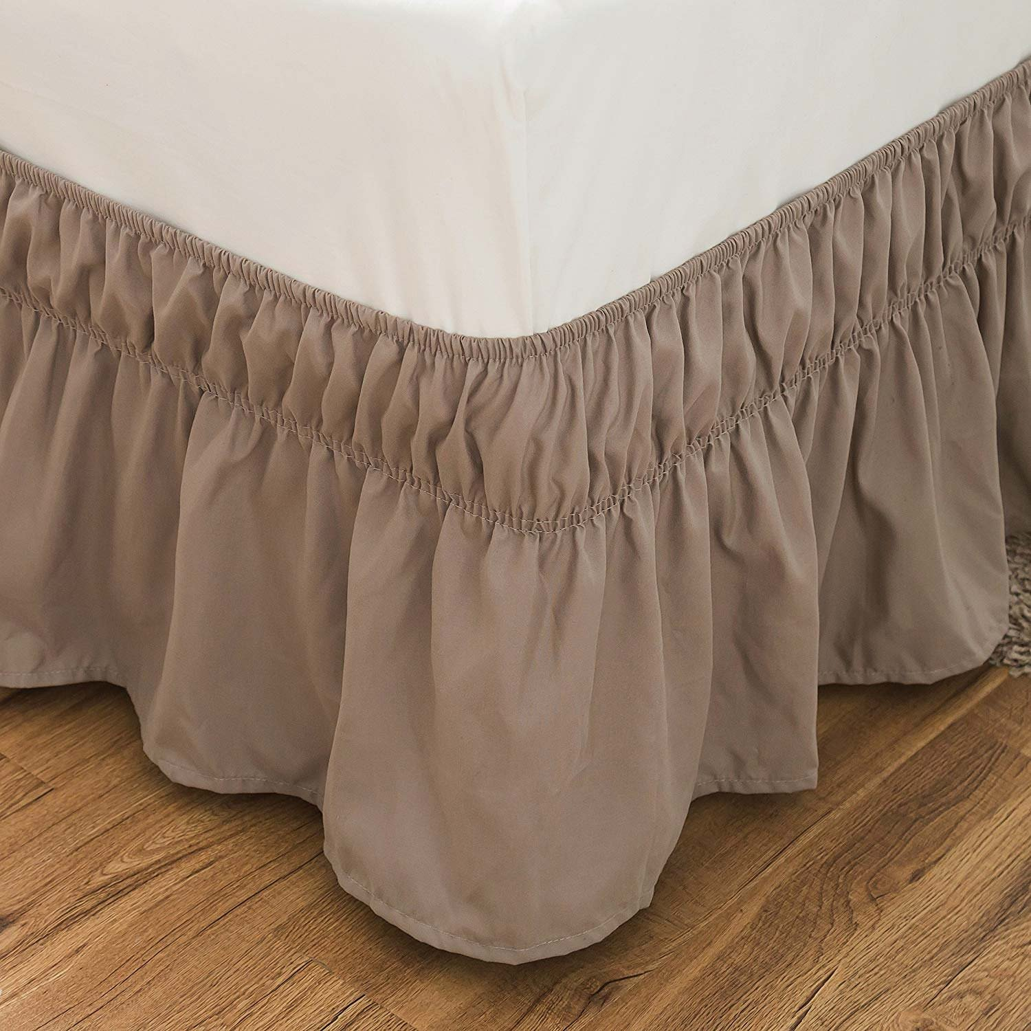 Wrap Around Bed Skirt, Elastic Dust Ruffle Easy Fit Wrinkle and Fade Resistant Solid Color Hotel Quality Fabric, Twin/Twin-XL,Taupe