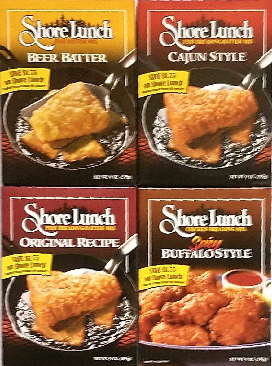Variety Pack of 4 - Shore Lunch Chicken & Fish Breading/Batter Mixes - Beer Batter, Cajun Style, Original Recipe, Spicy Buffalo Style by Shore Lunch