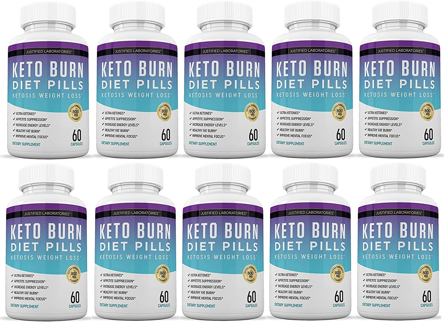 Keto Diet Pills Burn Shred BHB Salts Advanced Ketogenic Supplement Exogenous Ketones Ketosis Weight Loss Fat Burner Boost Energy Metabolism Men Women 60 Capsules 10 Bottles