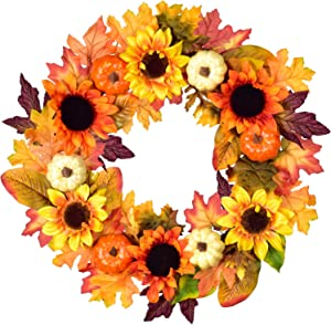20Inch Artificial Sunflower Pumpkin and Maple Leaf Wreath for Halloween and Thanksgiving Home Indoor or Outdoor Arrangement Decoration