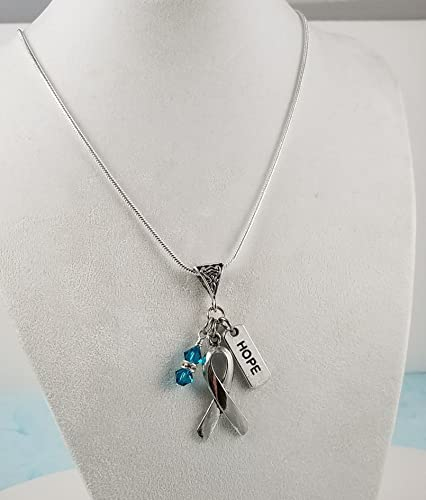 31484a755 Image Unavailable. Image not available for. Color: Ovarian Cancer Hope  Necklace- Silver Awareness Ribbon with Teal Crystal Dangle