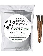 Natural Method Hair Color -100% Natural & Chemical Free, Henna Hair Dye: (DARKEST BROWN-BLACK) 100 Gms/3.52 Oz + Free Wood Applicator