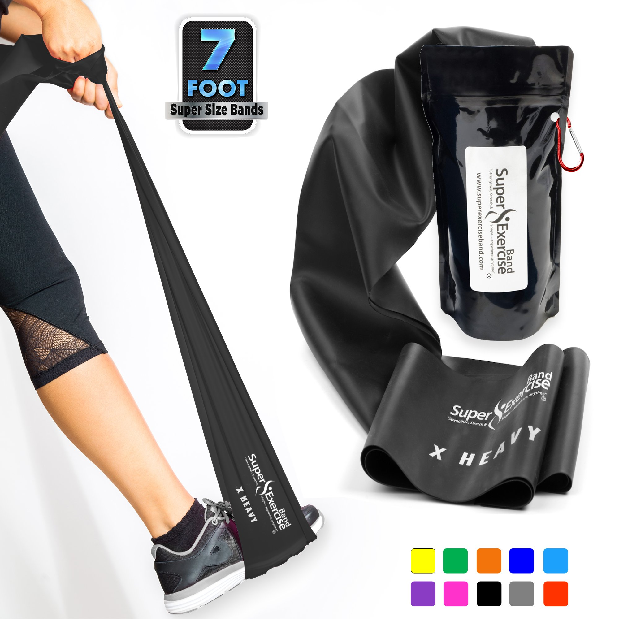 Super Exercise Band X Heavy Black 7 ft. Long Latex Free Resistance Bands Door Anchor Set, Carry Pouch, E-Book. for Home Gym, Strength Training, Physical Therapy, Yoga, Pilates, and Chair Workouts.