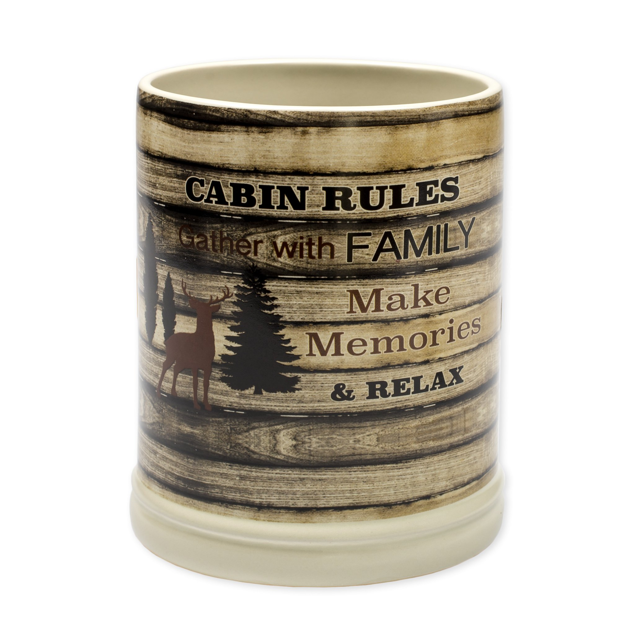 Cabin Rules Rustic Wood Outdoor Design Ceramic Stone Jar Warmer