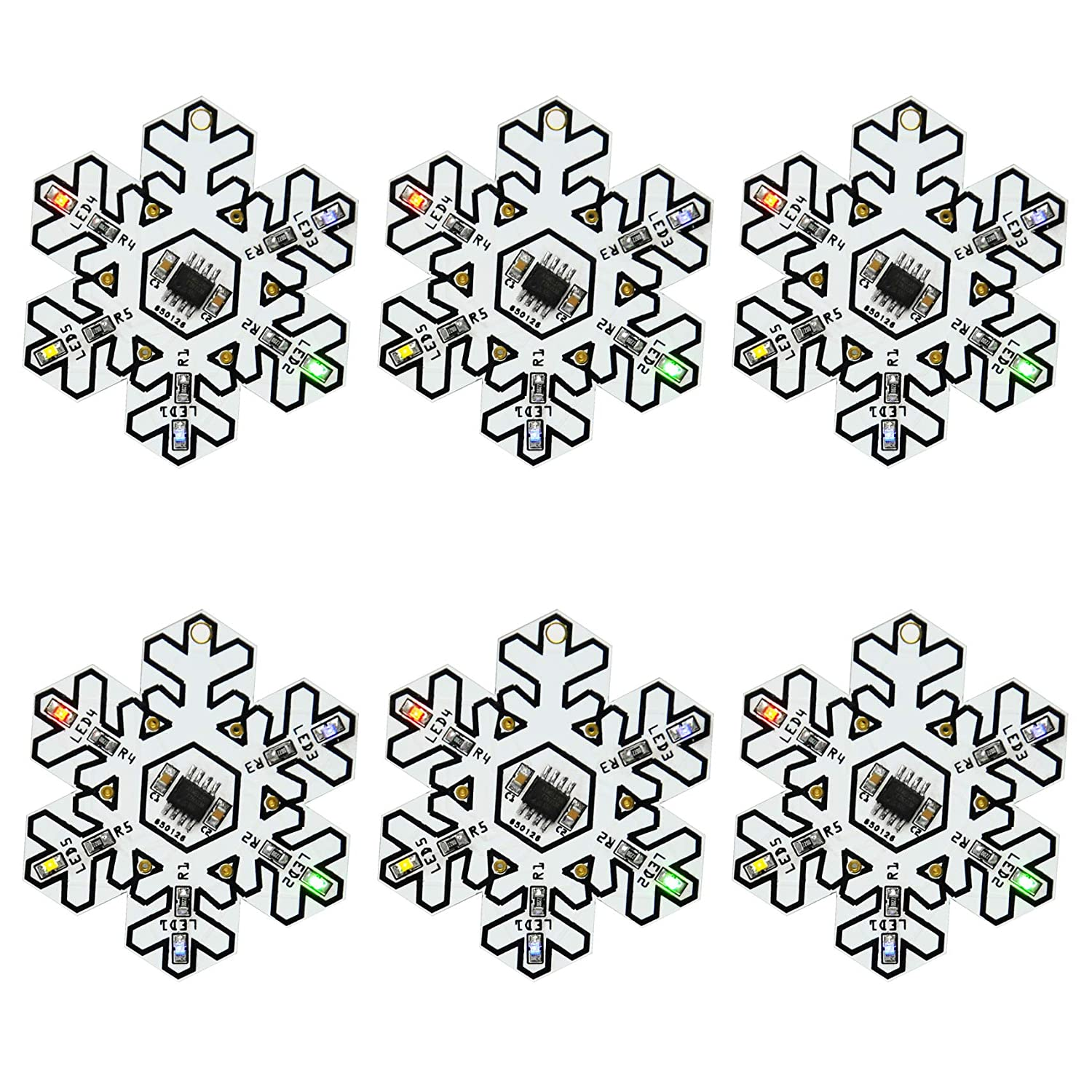 Gikfun Snowflake Shape SMD SMT Welding Practice Soldering Skill Training Board DIY Kit for Arduino Christmas Tree Decoration Gift (Case Pack of 6) GK1018U Esooho