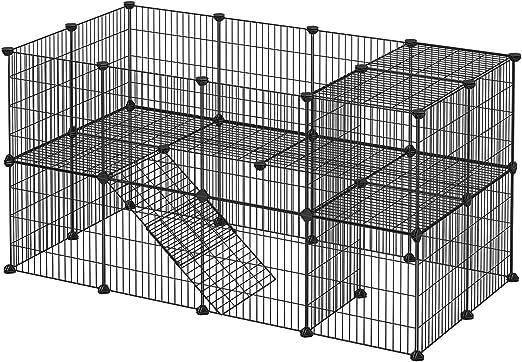SONGMICS Valla para Paqueños Animales, Jaula de Malla metálica Ajustable, Valla con 2 Niveles, Recinto Flexible, Martillo de Goma Incluido, Montaje DIY, 143 x 73 x 71 cm, Negro LPI02H: Amazon.es: Productos para mascotas