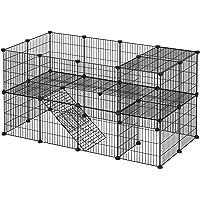 SONGMICS 2-lags husdjursbur, DIY husdjurshölje, kaninkrok, hamstrar, kaniner, marsvin, metallgaller, för inomhusbruk…