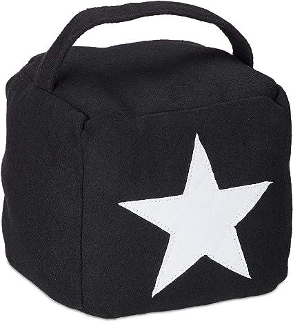 1 x Cale-porte étoile tissu buttoir avec poignée türsack Sol Décoratif Noir