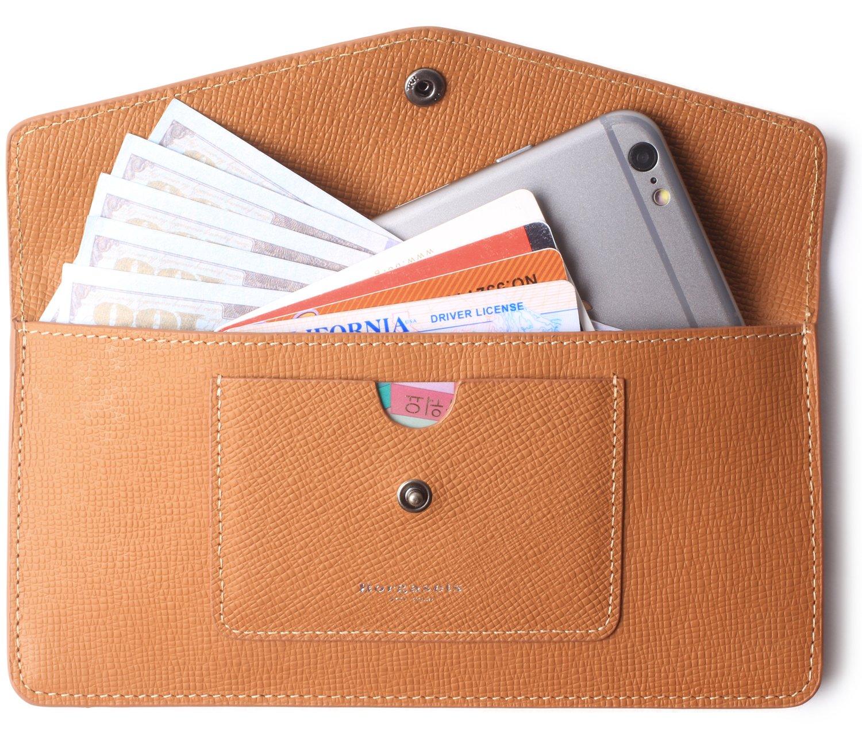 Women's Wallet Leather RFID Ultra-thin Envelope Ladies Purse Travel Clutch (Crosshatch Brown)
