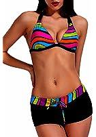 Maillot de Bain Femme 2 pièces Bikini Shorty Triangle Noir et Multicolore