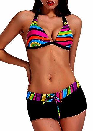 a70fadaa7f Maillot de Bain Femme 2 pièces Bikini Shorty Triangle Noir et Multicolore:  Amazon.fr: Vêtements et accessoires