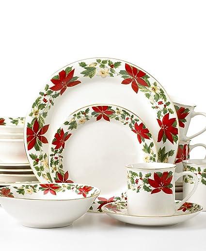 gibson dinnerware poinsettia holiday 20 piece set - Cheap Christmas Dinnerware Sets