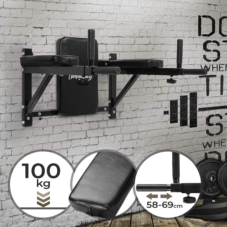 Physionics Estación de Entrenamiento - para Músculos Abdominales y Espalda, Carga Máx. 100 kg - Barra de Dominadas, Equipo de Fitness y Ejercicio
