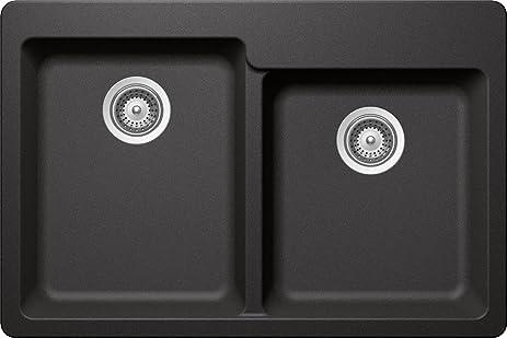 SCHOCK ALIN175T088 ALIVE Series CRISTADUR 60/40 Topmount Double Bowl  Kitchen Sink, Stone