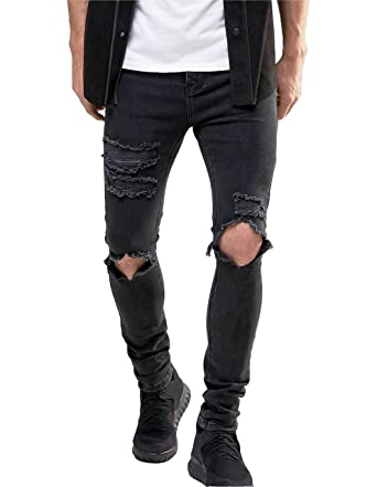 b68a0f980c0e Men s Stretch Skinny Ripped Jeans With Knees Rips Distressing In Black Wash  at Amazon Men s Clothing store