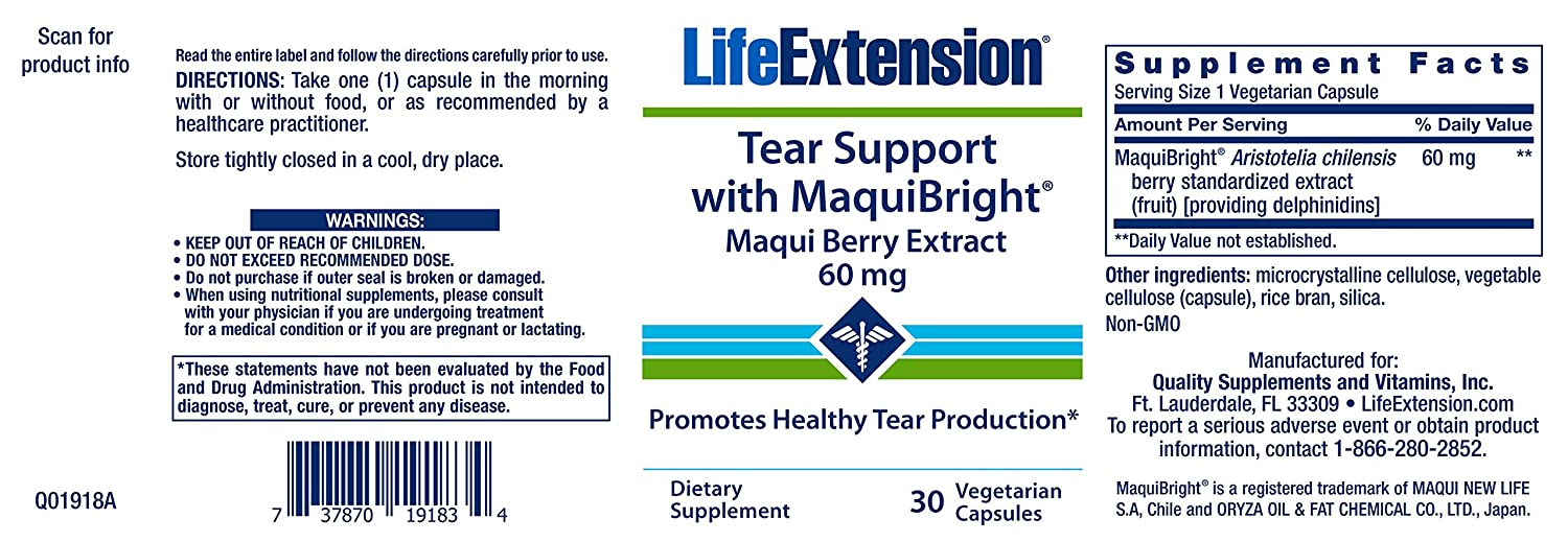 Amazon.com: Life Extension Tear Support with Maquibright 60 mg, 30 Vegetarian Capsules: Health & Personal Care