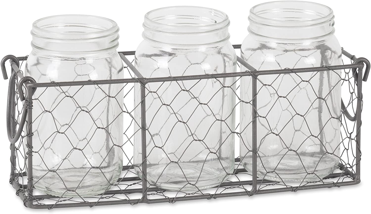 DII Flatware Caddy with Clear Glass Jars Farmhouse Chicken Wire, Vintage Gray