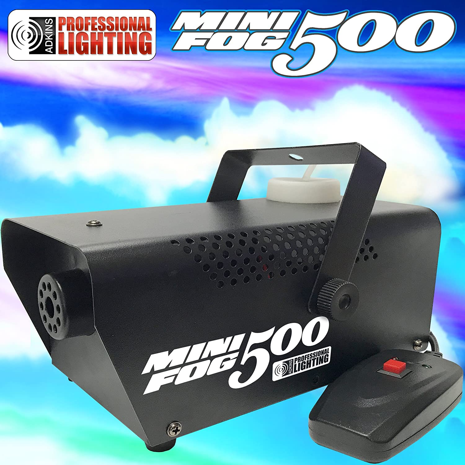 Fog Machine - 500 Watt Mini Fog Machine with Remote - Impressive 2,000 Cubic ft. per minute Adkins Profesional Lighting MINI-FOG-500