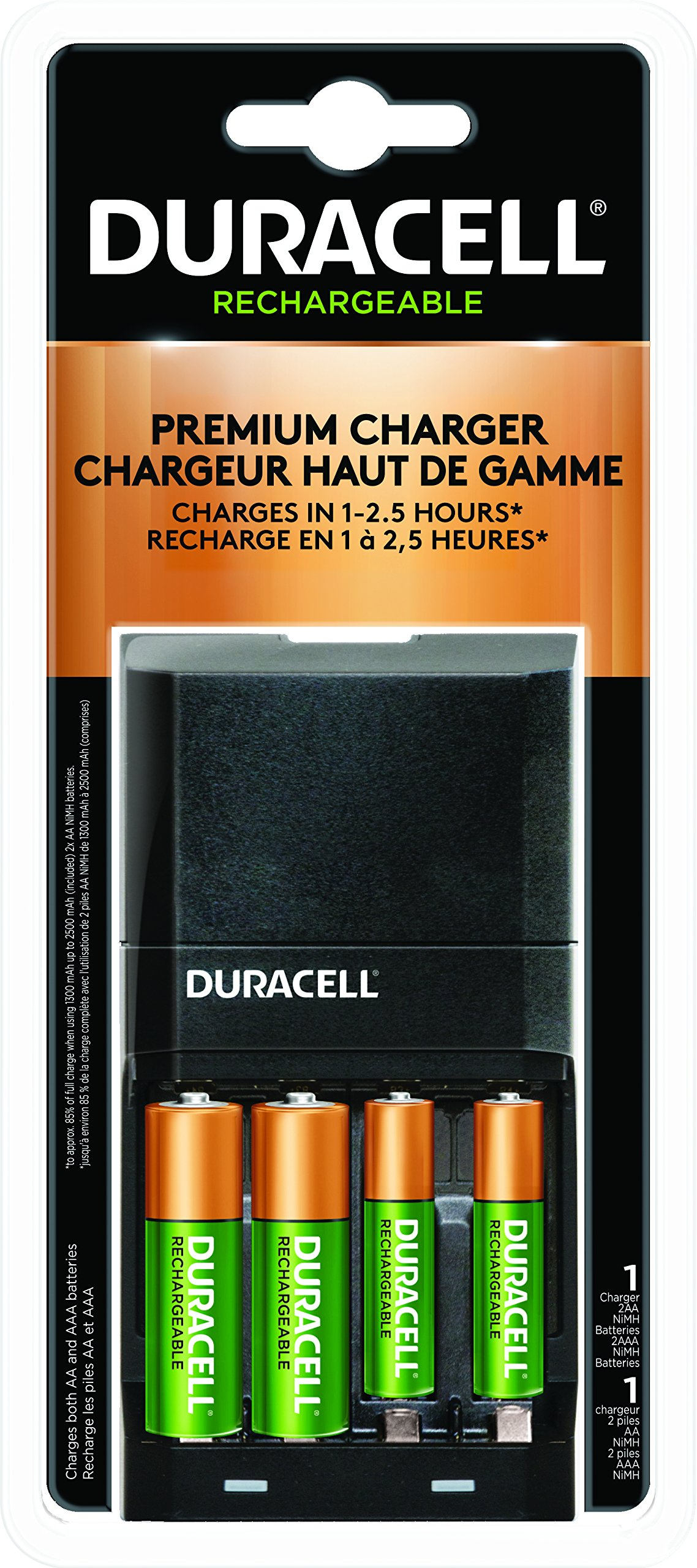 Duracell Battery Charger 4000 With 2AA / 2AAA - 1-2.5 hrs