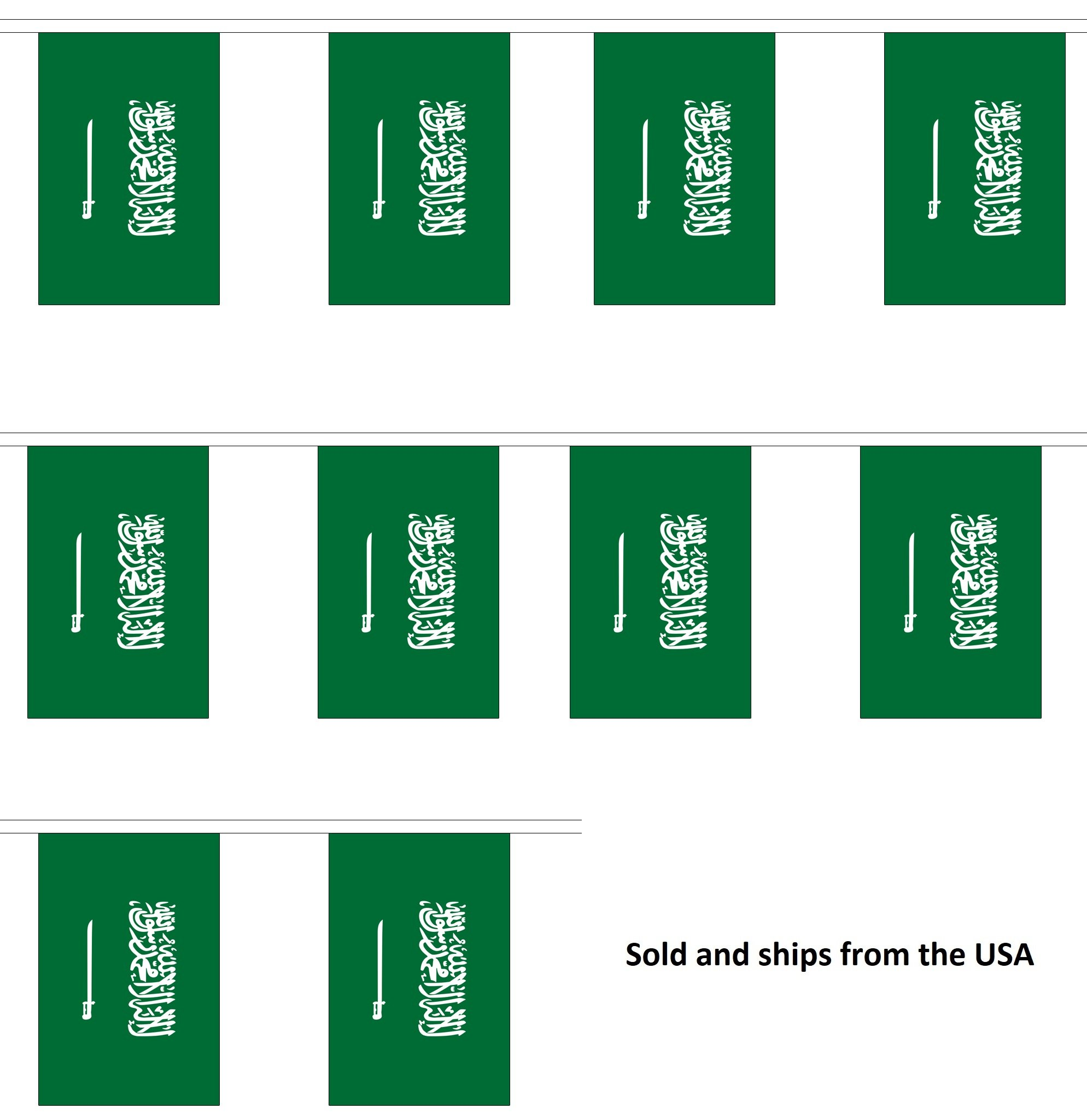 30' Saudi Arabia String Flag Party Bunting Has 30 Arabian 6''x9'' Polyester Banner Flags Attached, Popular For School Classroom, Special Events, Bars, Restaurants, Country Theme Parties