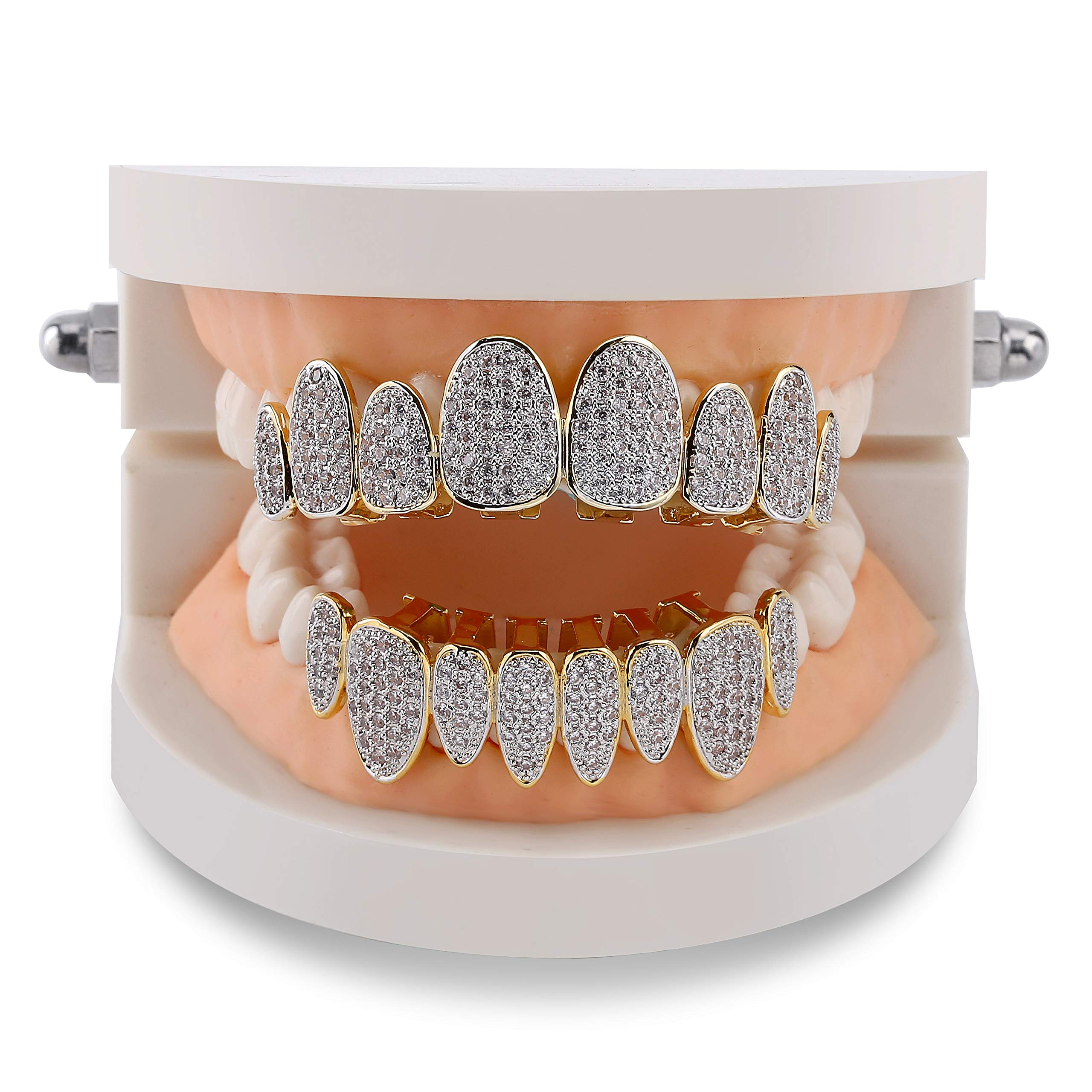 TOPGRILLZ 18K Gold Plated Iced Out Simulated Diamond Grillz Top and Bottom Grills for Your Teeth with Extra Molding Bars Hip Hop (Gold Set) by TOPGRILLZ (Image #7)