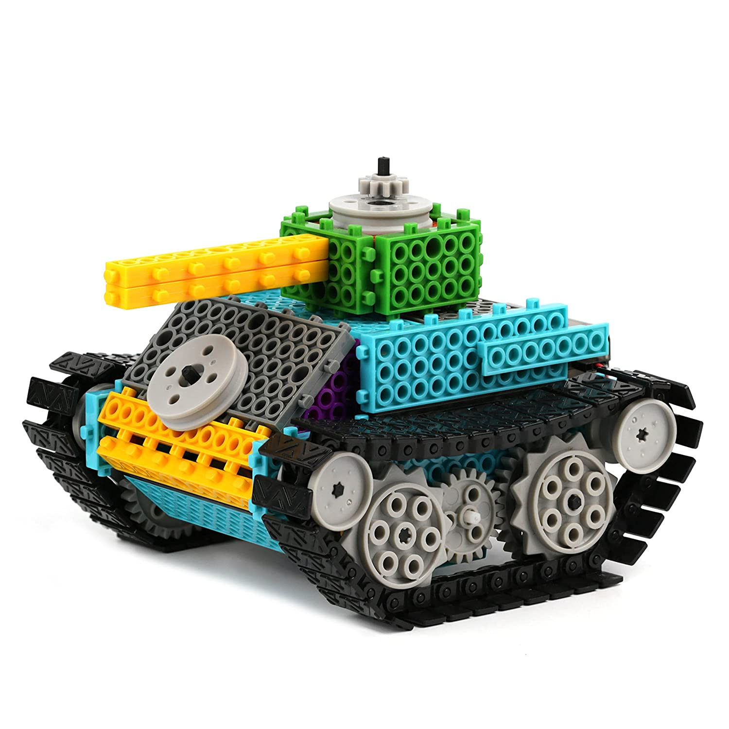 image of RC tank built with building kits in various colors