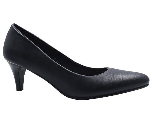0ec633e0ca4 Greatonu Elegant Pointed-Toe Slip-on Mid Kitten Heels Womens Black Court  Shoes Size