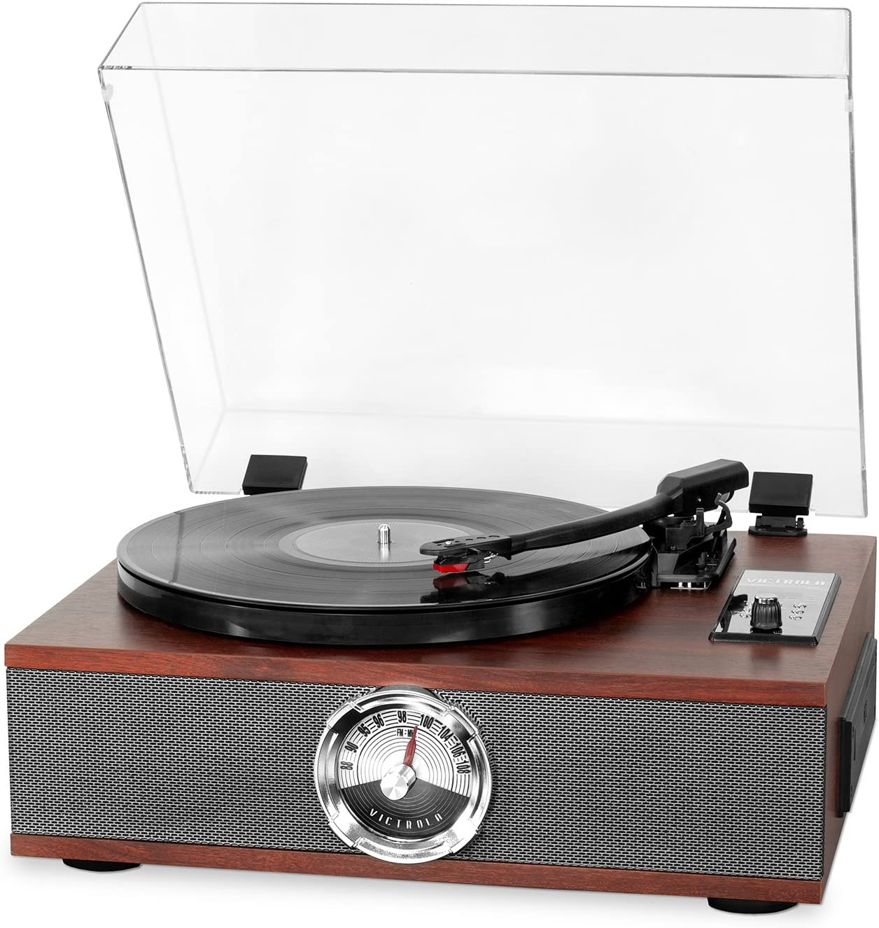 Victrola 5-in-1 Wood Bluetooth Record Player with 3-Speed Turntable, CD and Radio