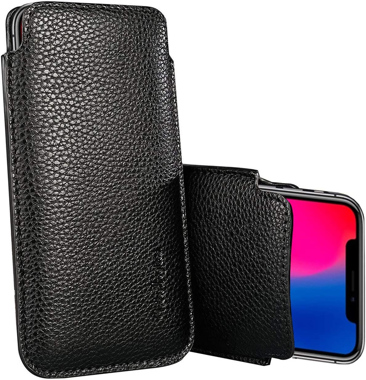 """Apple iPhone XR/iPhone 11 Sleeve, Modos Logicos Synthetic Leather Protective Sleeve Pouch Case for iPhone XR/iPhone 11 6.1"""", Professional Executive Case Design with Elastic Pull Strap - Black"""
