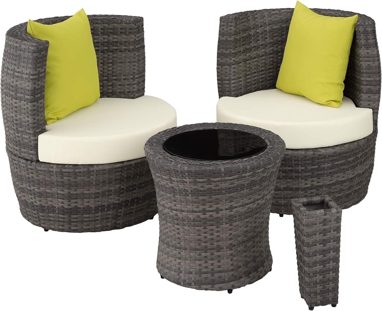 TecTake 800690 Conjunto de Muebles de Jardín de Poly Ratán y Aluminio, para 2 Personas, Almacenamiento Compacto en Forma de Huevo, 2 Sillones, 1 Mesa, 1 Florero (Gris | no. 403141)