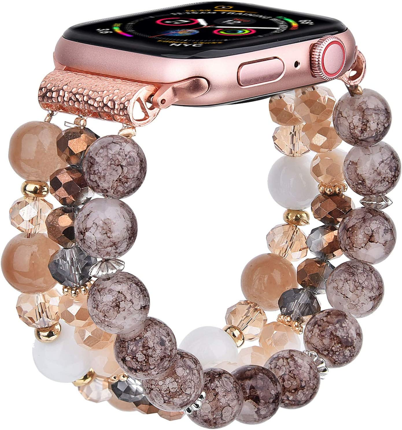 CAGOS Bracelet Beadeds Compatible with Apple Watch Band 42mm/44mm Series 6/5/4/3/2/1 Cute Handmade Fashion Elastic Stretch Beaded Strap Replacement with Stainless Steel Adapter for iWatch Amber
