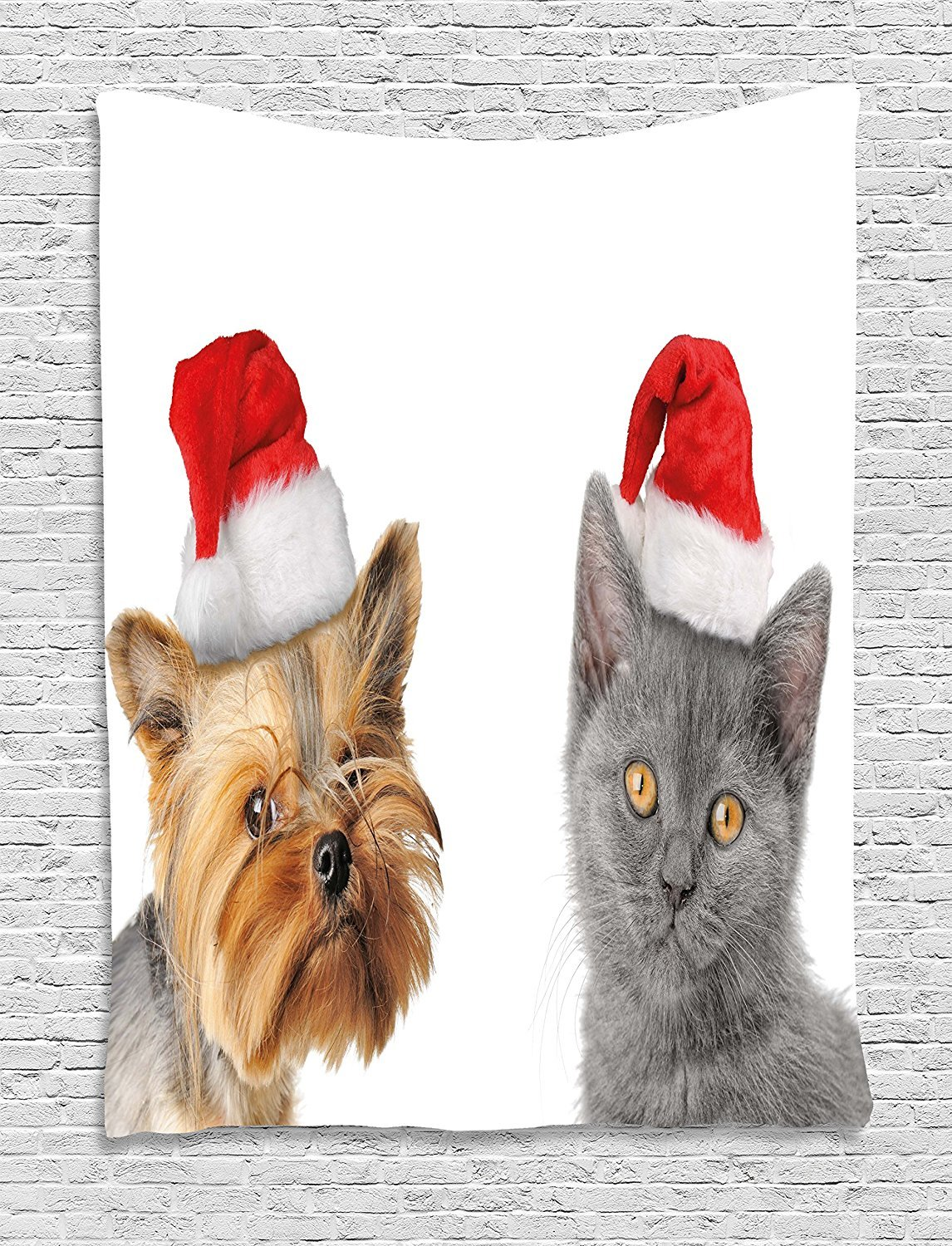 asddcdfdd Christmas Tapestry, Adorable Cat and Dog with Xmas Hats Domestic Pet Animals Holiday Celebration, Wall Hanging for Bedroom Living Room Dorm, 60 W X 80 L Inches, Orange Grey Red