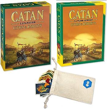 Expansión de Catan: Ciudades y Caballeros con extensión de Catan: Paquete de 5 a 6 Jugadores | Incluye práctica Bolsa de Almacenamiento con cordón con Logotipo Impreso: Amazon.es: Juguetes y juegos