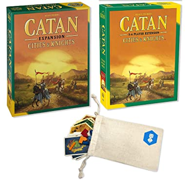 Catan Expansion: Cities & Knights with Catan Extension: Cities & Knights 5-6 Player Bundle | Includes Convenient Drawstring Storage Pouch with Game Players Logo Printed