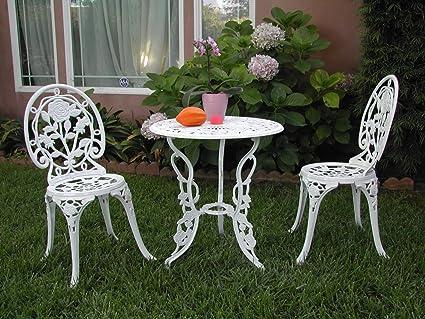 Outdoor Patio Furniture 3 Piece Cast Aluminum Bistro Set F CBM1290