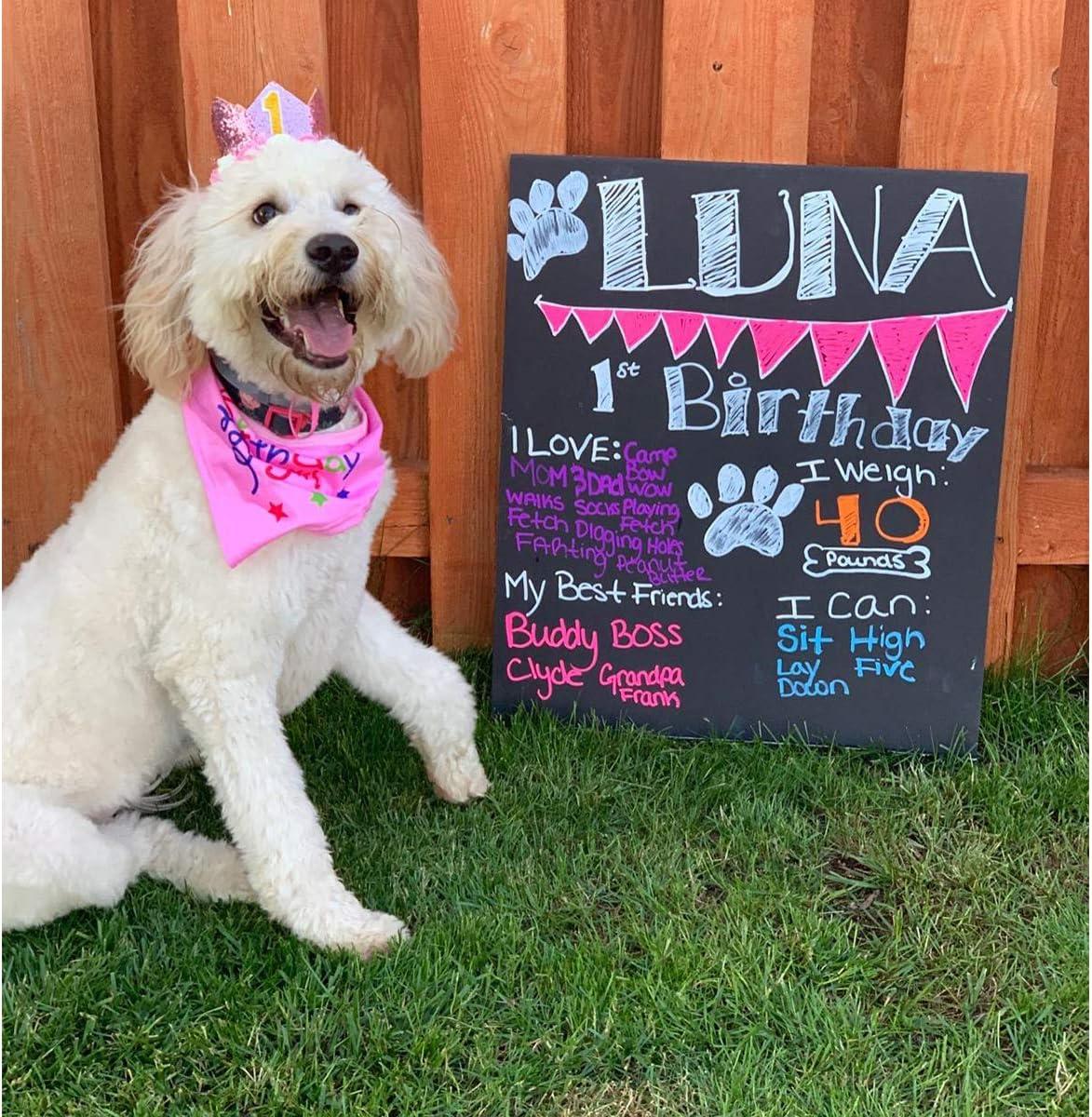 POSAPET Dog Birthday Bandana Scarfs Pet Birthday Gift Decorations Set