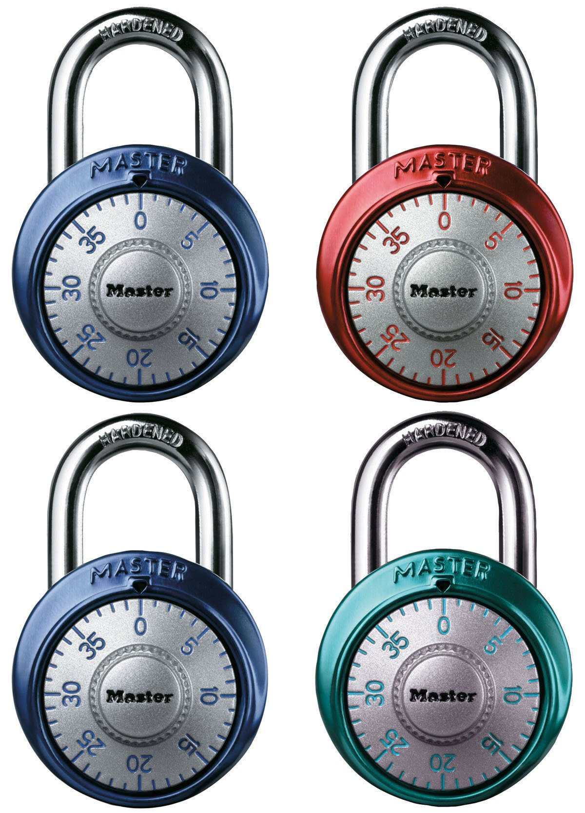 Master Lock 1561DAST Combination Dial Padlock, with Aluminum Cover, 1-7/8-Inch Wide, 4-Pack, Color May Vary