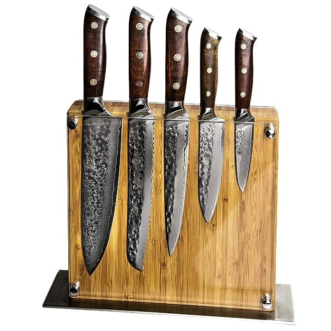 Stallion Damastmesser Ironwood Messerset - Messer aus Damaststahl und mit Griff aus Eisenholz inklusive Messerblock