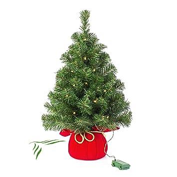Mini Weihnachtsbaum Mit Batterie.Artplants Mini Weihnachtsbaum Warschau Mit Led S Rot 60 Cm ø 40 Cm Plastik Tannenbaum
