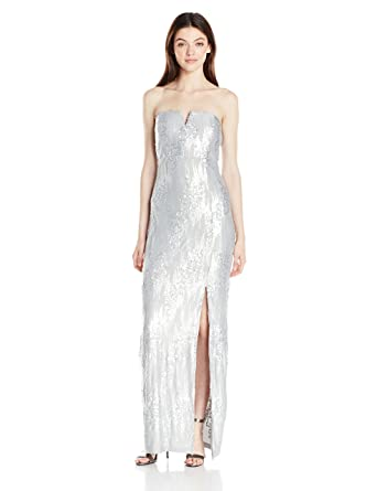 Amazon.com: A. Byer Junior\'s Strapless Sequins Long Prom Dress: Clothing