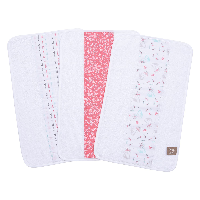 Trend Lab Fox and Feathers 3 Piece Jumbo Burp Cloth Set, Multi 102798