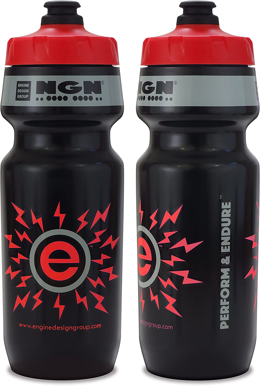 Engine Design Group NGN Sport – High Performance Bicycle Bike Water Bottle for Triathlon, MTB, and Road Cycling – 24 oz Black Red 2-Pack