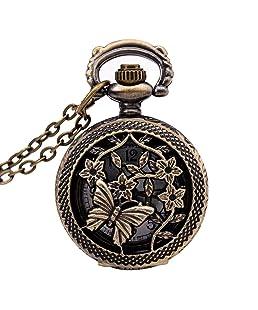 TOOGOO Watches Vintage Bronze 31.5 pouces Chain Antique Pocket Watch Fashion Gift-Butterflies&Flower