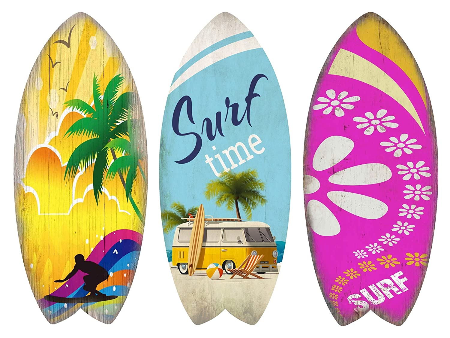 KandyToys Wooden Surf Board Sign Printed Wall Art Decoration Set of 3 Boards VW Camper Van Style Bright Designs Kandy Toys