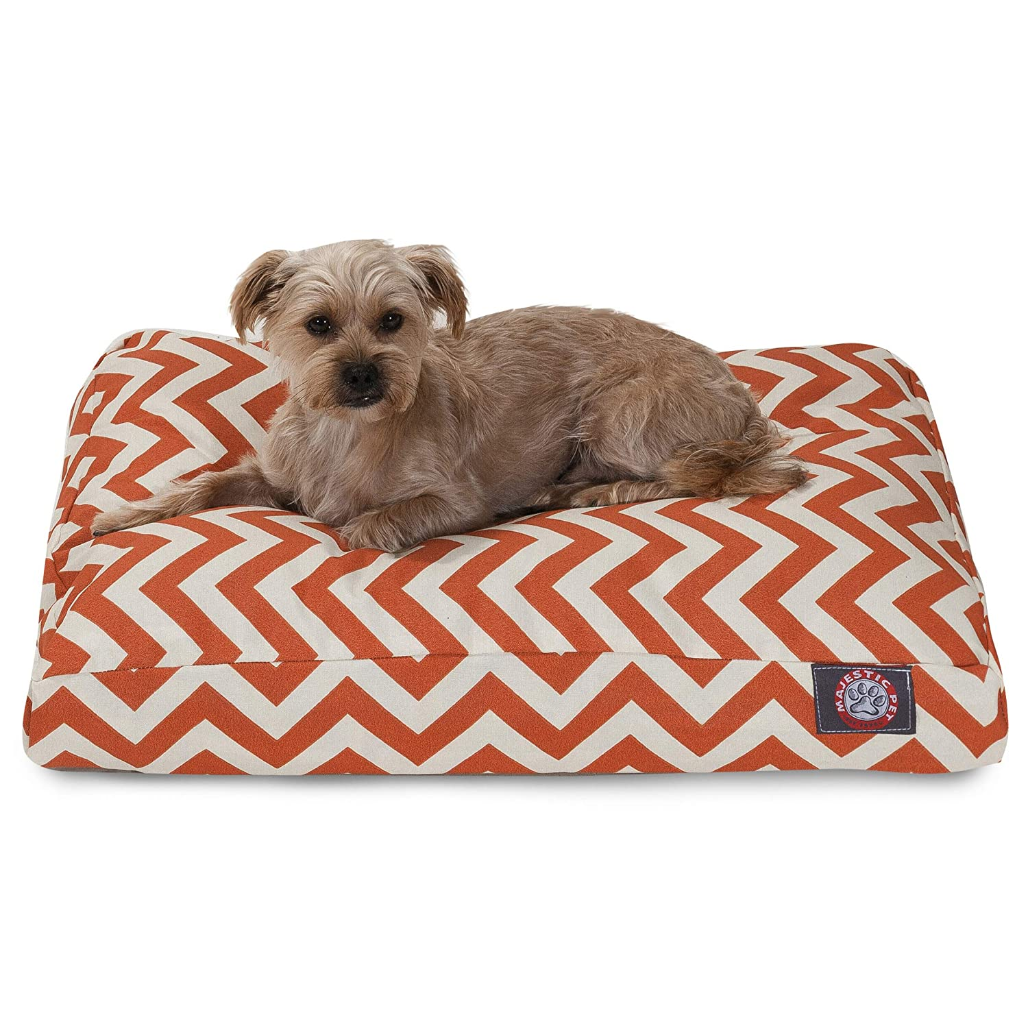 Burnt orange Chevron Small Rectangle Indoor Outdoor Pet Dog Bed with Removable Washable Cover by Majestic Pet Products